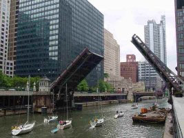 A drawbridge on the Chicago River, Chicago, Illinois
